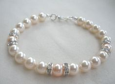 Bridesmaid Bracelets Wedding Jewelry Ivory Pearl Bracelets with Crystals in Sterling Silver with Peach Accent on Etsy, $20.00