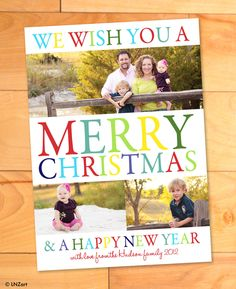 Photo Christmas Card, Bright Colors, Rainbow, Merry Christmas, Multiple Photo, Modern Photo card, Happy New Year, christmas photo cards. $15.00, via Etsy.