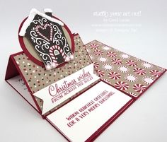 "A Christmas card that ""WOWS"" featuring Candy Cane Lane designer paper and a fun fold.… #stampyourartout - Stampin' Up!® - Stamp Your Art Out! www.stampyourartout.com"