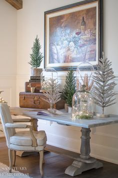 Tips for Transitioning from Fall to Winter Decor-Mini Christmas Trees-Tinsel trees-Cloches-Twinkle Lights Christmas Booth, Mini Christmas Tree, Outdoor Christmas, Christmas Home, Cottage Christmas, Country Christmas, Christmas Ornaments, Seasonal Decor, Fall Decor
