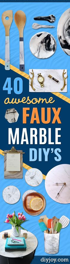 DIY Faux Marble Ideas - Easy Crafts and DIY Projects With Faux Marbling Tutorials - Paint and Decorate Home Decor, Creative DIY Gifts and Office Accessories http://diyjoy.com/diy-ideas-faux-marble