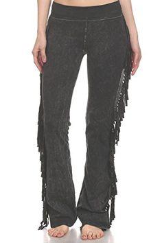 62b0fada05 T-Party Women's Fringe Leg Mineral Wash Yoga Pants (Small, Black) Aztec