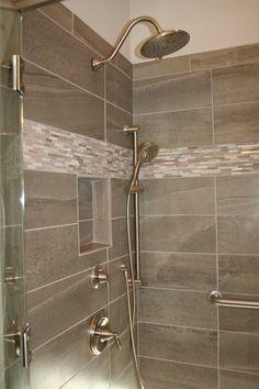 Upgrade tile with Upgrade accents of Sticks HiLo. Rainshower brushed nickel with handheld sprayer. Semi-frameless shower door. www.windsonglife.com