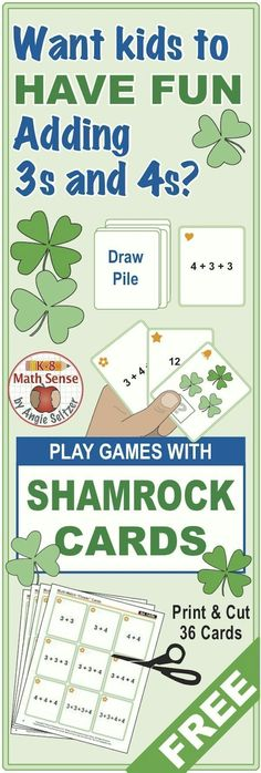 This FREE set of 36 game cards has a St. Patrick's Day theme and focuses on addition for Grades 1-2. Kids will enjoy addition practice!