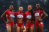 Francens McCorory, Allyson Felix, Sanya Richards-Ross and DeeDee Trotter,  USA GOLD MEDAL, August 11, 2012  View image detail