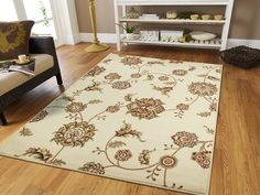 Contemporary Modern Flowers Cream Kitchen Runner Rug Ivory Area Rug 2x3 Door Mats Rugs Outside and Indoor Washable >>> Sensational bargains just a click away : Free Home and Kitchen
