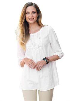 Crochet linen-blend tunic by Ellos® | Plus Size New Arrivals | OneStopPlus