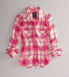 American Eagle Outfitters Favorite Light Flannel Shirt Trad Plaid - More prep than grunge, tartan plaids cross classifications with a Rockabilly swagger.