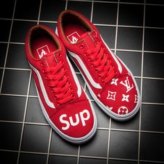 VANS X SUPREME X LV PRINTED CUSTOM MADE SLIP ON SP03 RED