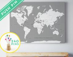 Large world map poster wall art in dark navy choice of lovely crisp world map posters canvas frames and guest books par macanaz gumiabroncs Gallery