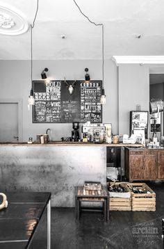 Commercial #interior with an industrial #metallic bar #design