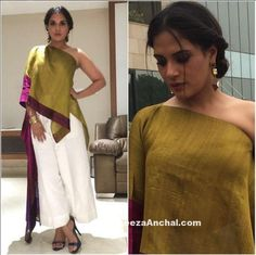 Richa Chadha in Ethnic One Shoulder outfit by Payal Khandwala