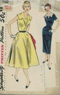 An original ca. 1950's Simplicity Pattern 1132.  Misses' and Women's One-Piece Dress with Two Skirts and Detachable Collar: Dress may featured slim skirt, View 1, or flared skirt, View 2. Wide collar outlines V-neckline which is finished with button trimmed vestee. Dress may have short set-in sleeves or be sleeveless. V. 1 detachable collar is contrasting. V. 2 collar is detailed with topstitching.