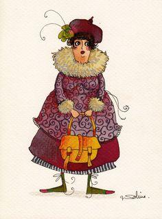 """""""Gigi"""", illustration originale à l'aquarelle, modèle unique."""