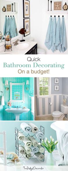 Reposting for the wine rack towel rack. Bathroom Décor: Quick Bathroom Decorating on a Budget • Tips & Ideas!