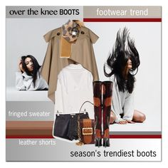 """""""Rock On: Over-The-Knee Boots"""" by drn57 ❤ liked on Polyvore featuring Burberry, Kenzo, Current/Elliott and OverTheKneeBoots"""