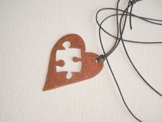 Valentines copper heart necklace, handmade puzzle heart necklace, Metalwork. $26.00, via Etsy.
