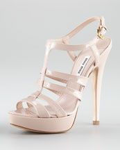Miu Miu Patent Leather Strappy Platform Sandal - Cost at Neiman Marcus: dollars.why must I have such expensive taste? Miu Miu Shoes, Glitter Heels, The Struts, Strappy Sandals, Neiman Marcus, Patent Leather, Shoe Boots, Platform, Pumps
