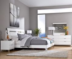 Grey Wall Color Scheme and White Bedding Sets in Modern Bedroom Design Ideas