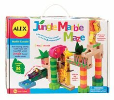 Alex Toys Jungle Marble Maze by Alex. $28.99. Set include 36 blocks and 3 marbles. Building activities inspire imagination and construction skills. This set teaches kids about cause and effect and the laws of gravity. This toy won Parents Magazine Best Toys of the Year Award. This set is great for improving a child's dexterity and fine motor skills. From the Manufacturer                Alex Jungle Marble Maze lets children build amazing 3D mazes with beautifully printed, j...