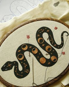 embroidered snake constallations with moon Alina Fera - @afera_handmade  #embroidery #handembroidery