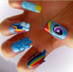 Rainbowdash nails, NEED to do for the party! :3
