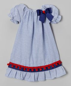 Look what I found on #zulily! Blue Pom-Pom Peasant Dress - Infant & Toddler #zulilyfinds