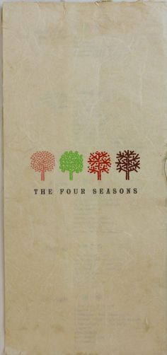 The Four Seasons Restaurant Menu