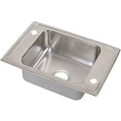 Elkay DRKADQ3119502 Lustertone Stainless Steel Single Bowl Top Mount Quick-Clip Sink with 2 Faucet Holes, Multicolor