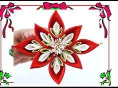 Flores Kanzashi Navideñas - Christmas kanzashi flowers - YouTube