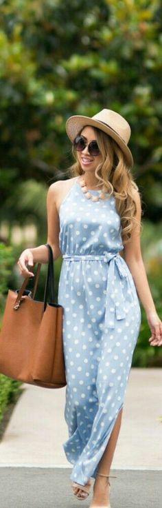 Always a fan of a Polka dot long dresses