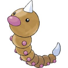 Weedle is a small larva Pokémon with a beige, yellow, or rust-colored segmented body. Combined with its red, purple, or fuchsia nose and feet, Weedle's bright coloration wards off its enemies. Weedle has a conical, two-inch venomous stinger on its head and a barbed one on its tail, but its other body parts are spherical.
