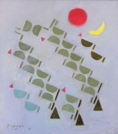 "Fadjar Sidik  (1930 - 2004) ""Abstraksi bulan sabit merah"" Oil on canvas 109 x 97 cm 2003"