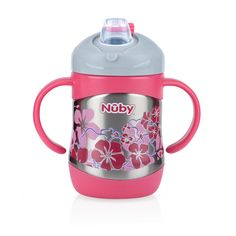 Nuby's NEW Stainless Steel 2 Handle Trainer Sipeez™ features the patented No-Spill soft silicone spout that is safe, easy to clean, and simple to assemble. Not to mention it is more flexible and softer on tender gums. The dual wall insulation keeps liquids cool for up to 6 hours and is sweat-proof so it won't leave water rings! The Easy Grip ™ handles are perfect for little hands and the Durable Kid Proof base minimizes damage from drops.