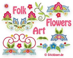 Folk Art Flowers  Handlook Machine Embroidery Designs from Stickbaer
