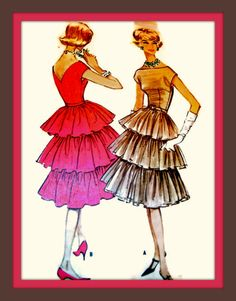 Vintage 50s Sewing Pattern 5135 - AMAZING Uncut 3 Tiered Ruffle Skirt Cocktail Dress -Size 16, Bust 34. $48.00, via Etsy.