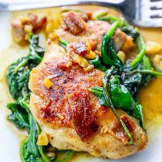 One Pot Bacon Garlic Chicken and Spinach Dinner