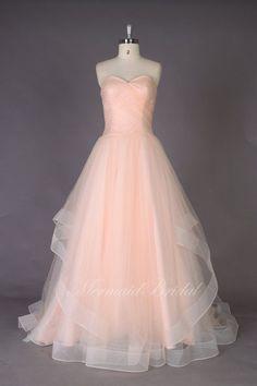 Romantic A line Simple Blush Wedding dresses by MermaidBridal, $309.99