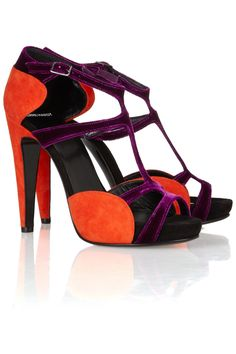 pierre hardy two-tone suede and velvet sandals, fall 2012