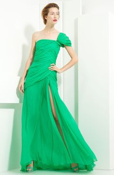 Crinkled Chiffon One Shoulder Gown. Gorgeous!