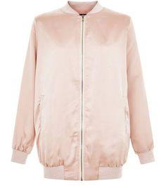 Shell Pink Sateen Longline Bomber Jacket