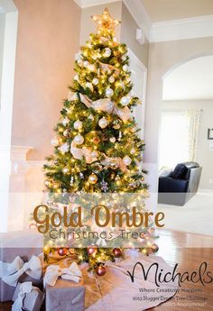 Gold Ombre Christmas Tree by @Linda {Craftaholics Anonymous®}  {Craftaholics Anonymous®} #JustAddMichaels