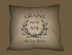 Vintage French Grains Typography on BURLAP pillow 16x16 HANDMADE by WhimsyFrills, $28.00