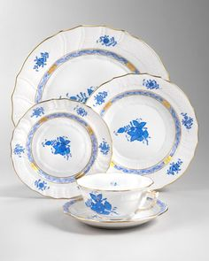 Chinese Bouquet Dinnerware, Blue by Herend at Neiman Marcus.