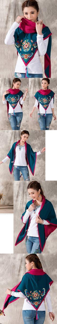 Versatile Ethnic Embroidery Cotton Linen Shawl - Aqua Blue/Fuchsia Tai Chi Clothing, Triangle Shape, Aqua Blue, Cotton Linen, Shawl, Ethnic, Embroidery, Fabric, Clothes