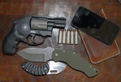 My EDC...S&W 340PD .357 Magnum, Boker Plus Sniper Bladeworks Dark Hollow, Boker Plus Nano (David Curtiss design), Hellbrand Leatherworks iPhone case, iPhone 5