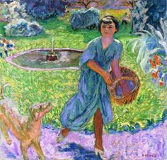 Girl Playing with a Dog (Vivette Terrasse) by @pierre_bonnard #postimpressionism