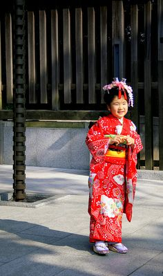 Adorable girl dressed up in kimono