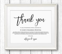 in lieu of wedding favors wedding donation sign charity printable thank you donation. Black Bedroom Furniture Sets. Home Design Ideas