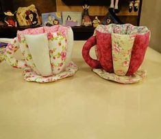 Tea Cup of Fabric -Tutorial- Good way to keep and serve tea bags... Cute Idea Xícara de Tecido Passo a Passo